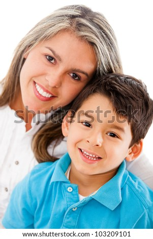Happy mother and son - isolated over a white background - stock photo