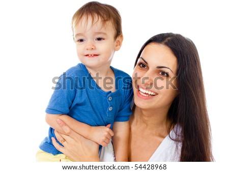 Happy mother and son together isolated on white
