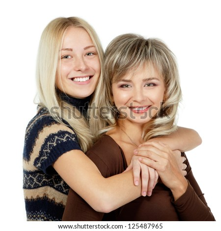 Happy mother and teen daughter portrait over white, mother's day - stock photo
