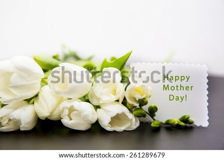 happy mother day, white tulip - stock photo