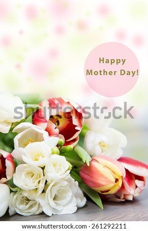 happy mother day with spring flower - stock photo