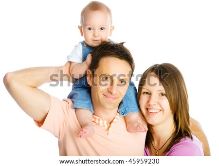 Happy mother, father and son isolated on white - stock photo