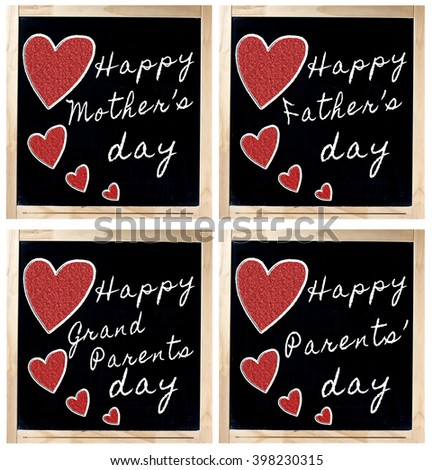 Happy Mother Father Parent and Grand Parent day handwritten with white chalk and red heart on blackboard - stock photo