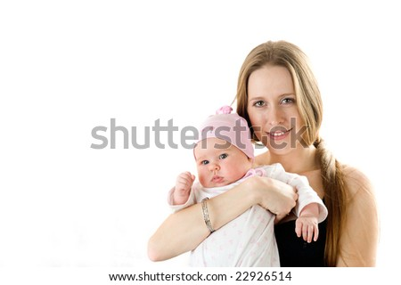 Happy mother  holding a young baby girl. Isolated on white background. - stock photo