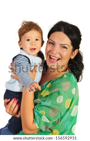 Happy mother holding her baby boy isolated on white background - stock photo