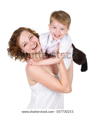happy mother holding her son. isolated on white background - stock photo
