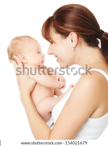 Happy mother holding newborn baby on hands over white background - stock photo