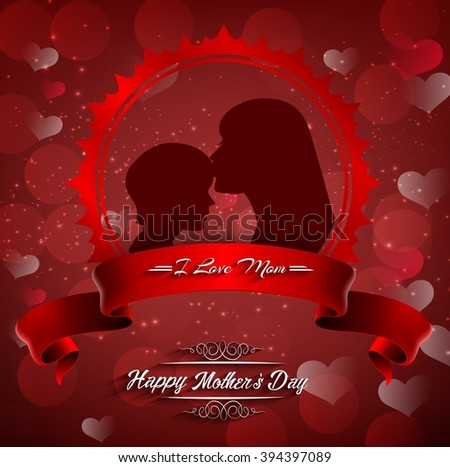Happy Mother's Day. Beautiful silhouette of mother and kid