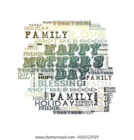 Happy Mother's Day Different Words on white background  - stock photo