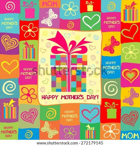 Happy Mother's Day! Greeting card. Celebration background with gift boxes and place for your text. Illustration