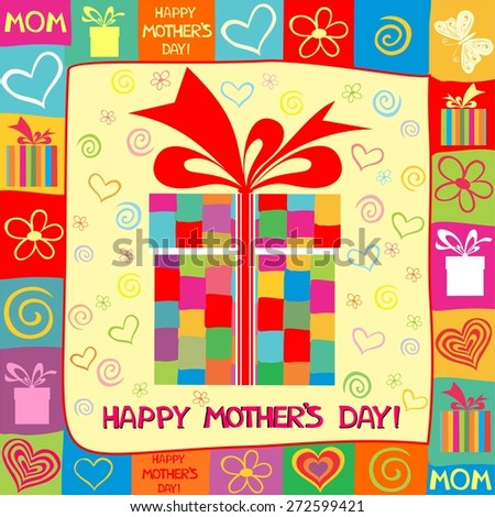 Happy Mother's Day! Greeting card. Celebration background with gift boxes and place for your text. Illustration - stock photo