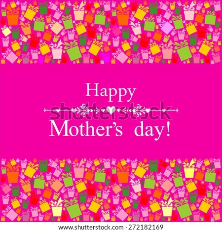 Happy Mother's Day! Greeting card. Celebration pink background with gift boxes and place for your text.  Illustration - stock photo