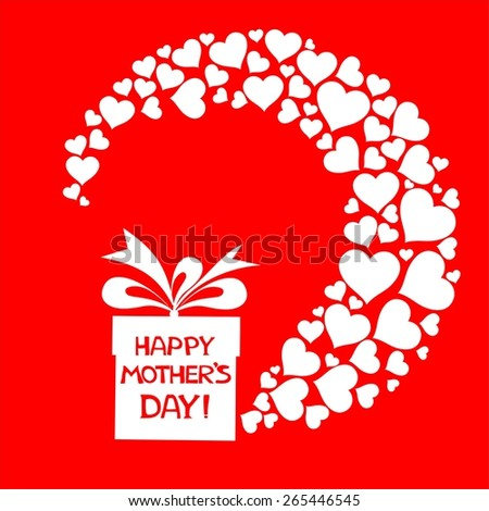 Happy Mother's Day! Greeting card. Celebration red background with gift boxes and place for your text. Illustration - stock photo