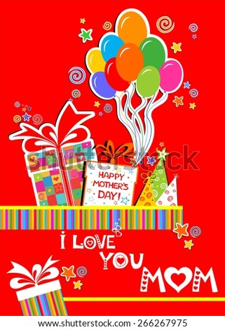 Happy Mother's Day! I Love You Mom! Celebration red background with  gift boxes, balloon, colored carnival caps and place for your text.  illustration  - stock photo