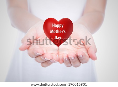 Happy mother's day  Red heart on  woman hands over body isolated on background. - stock photo