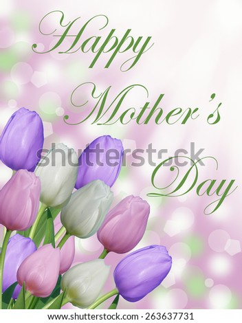 Happy Mother's day text with pink purple and white tulips and abstract bokeh background - stock photo