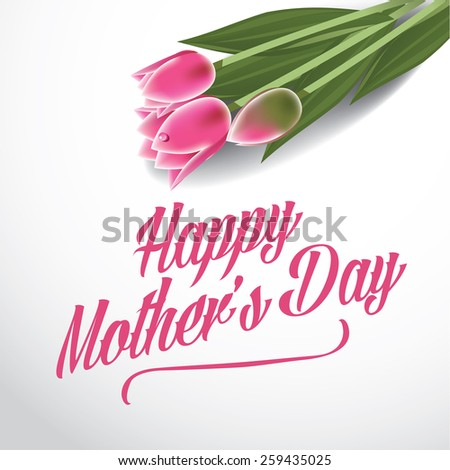 Happy Mother's Day tulips design royalty free stock illustration for greeting card, ad, promotion, poster, flier, blog, article, ad, marketing, florist, retail shop, brochure - stock photo
