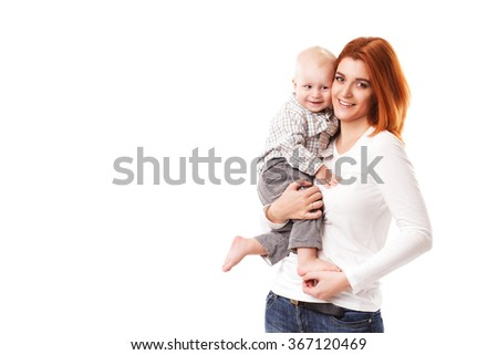 happy mother with baby isolated - stock photo