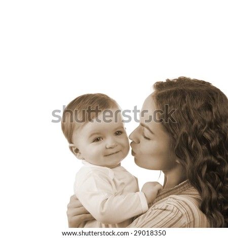 happy mother with baby on white background (sepia toned) - stock photo