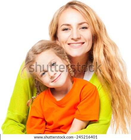 Happy mother with child. Fun family isolated on white - stock photo