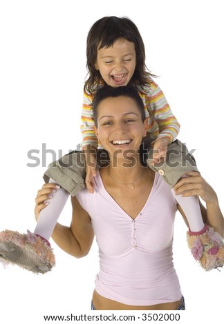 Happy mother with daughter on arms. Isolated on white in studio. Looking at camera - stock photo