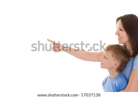 happy mother with her child together on a white background - stock photo