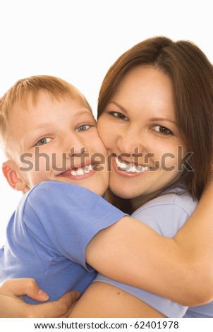 happy mother with her child together on a white background