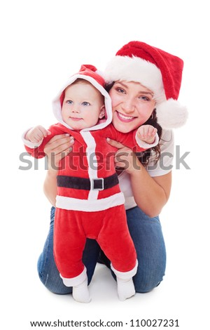 happy mother with her little santa. isolated on white background