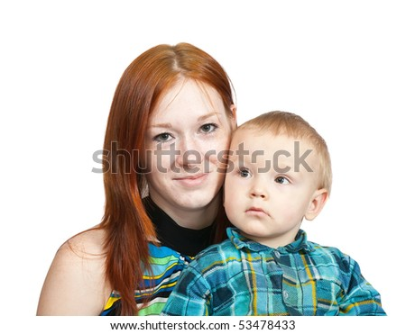 Happy mother with her son. Isolated over white