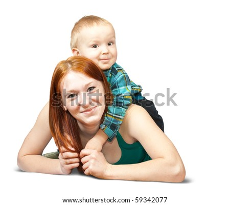 Happy mother with her son. Isolated over white - stock photo