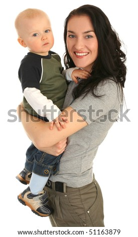 Happy mother with little son on white background
