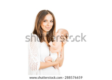 Happy mother with  newborn baby   girl isolated - stock photo