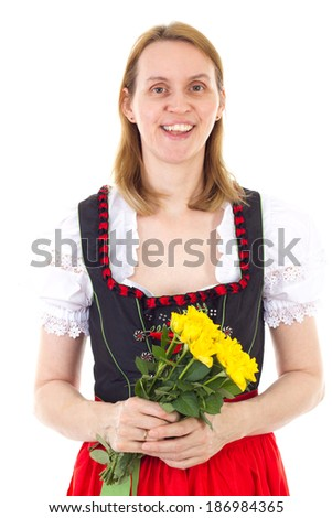 Happy mother with roses having nice mothers day - stock photo