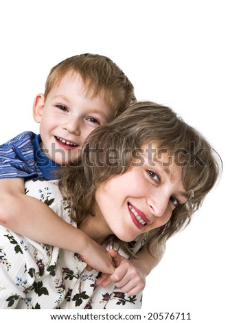 Happy mother with son - stock photo
