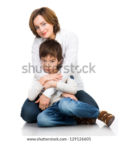 happy mother with son over white - stock photo