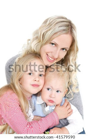 happy mother with two children over white - stock photo