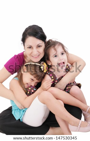 Happy mother with two kids