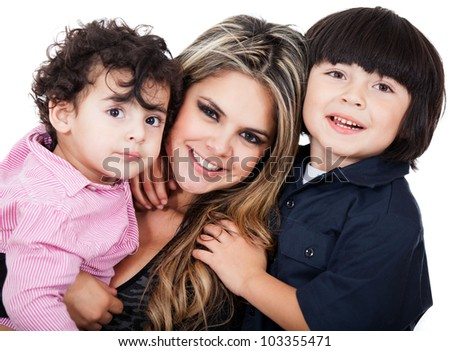 Happy mother with two sons - isolated over a white background