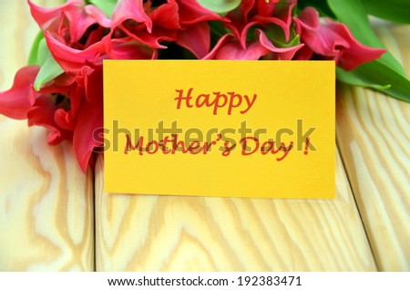 happy mothers day and bouquet of gorgeous red tulips  - stock photo
