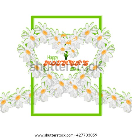Happy Mothers Day background. Tape from daisies in form of heart and green frame on white background. Rasterized version. - stock photo