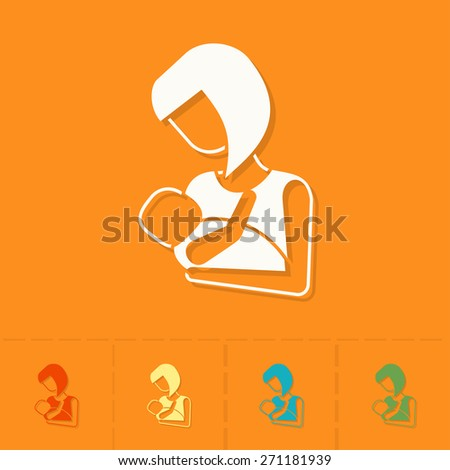 Happy Mothers Day Simple Flat Icon. - stock photo