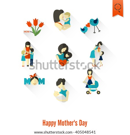 Happy Mothers Day Simple Flat Icons. , Clean Work, Minimum Points - stock photo