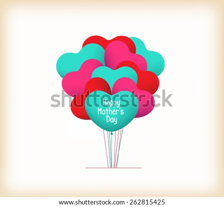 happy mothers day with heart balloons - stock photo