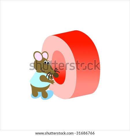 Happy Mouse with upper case letter O - stock photo