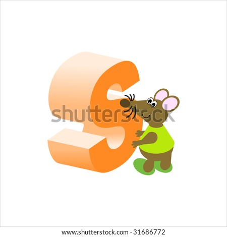 Happy Mouse with upper case letter S