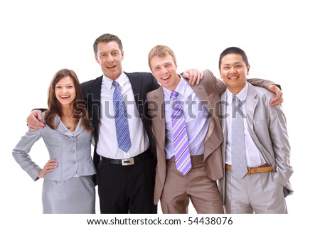 happy much ethnic business people worth together - stock photo