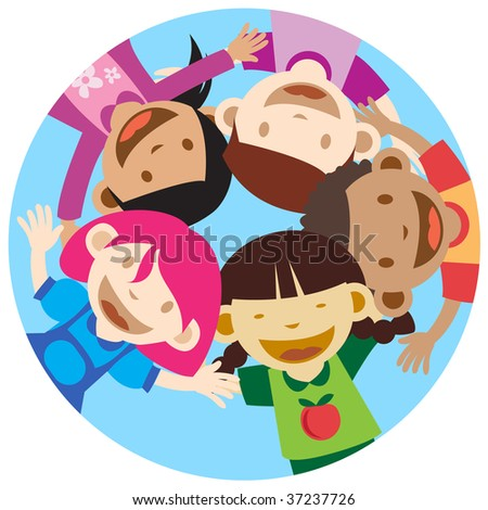 Happy multicultural kids Looking At Camera - stock photo