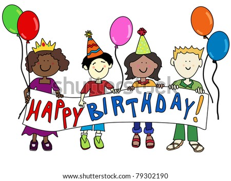 Happy multicultural or ethnic cartoons kids holding a Happy Birthday banner. - stock photo