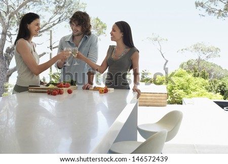 Happy multiethnic young friends toasting wineglasses at kitchen counter - stock photo