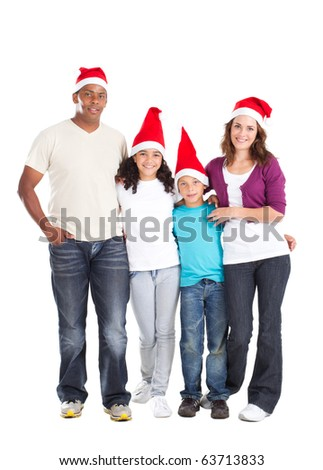 happy multiracial family of four wearing santa hats on white - stock photo